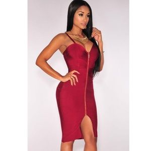Red Wine Zipper Hourglass Bandage Dress